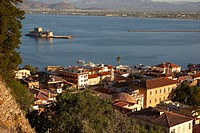Nafplion with Fort Bourdzi in background. Argolis, Peloponnese. Greece