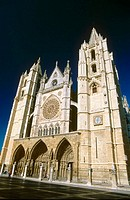 La Virgen Blanca façade (main façade of the cathedral). Gothic Cathedral of Santa Maria de la Regla. Leon. Spain