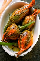 Marinated stuffed courgette flowers