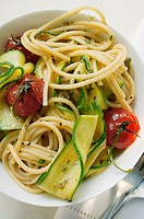 Spaghetti with cherry tomatoes and courgettes