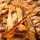 Linzer tart, cut into pieces