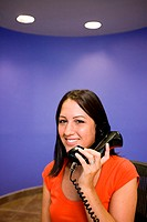 Portrait of a businesswoman talking on a telephone