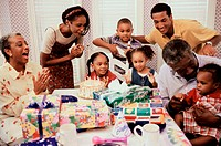 Family celebrating a birthday party