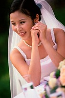 Close-up of a bride smiling
