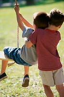 Rear view of two boys playing on a swing
