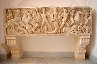 Greek sarcophagus in the cathedral, Mazara del Vallo. Sicily, Italy