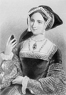Jane Seymour, 1509-1537. Third wife of Henry VIII of England. Engraved by P. Evles after J. W. Wright. From the book 'The Queens of England, Volume II...