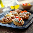 Crostini with soft cheese and with tuna