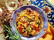 Turkish rice noodles with tomatoes, peppers & oregano flowers