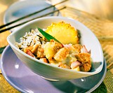 Chicken breast curry with pineapple