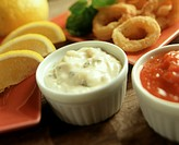 Tartar Sauce and Cocktail Sauce in Ramekins with Calamari and Lemon