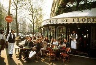 Guests at tables outside the Café de Flore, Paris