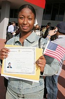 US Citizenship Ceremony, new citizens, immigrant, certificate. Miami Beach Convention Center, Florida. USA.
