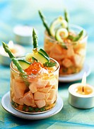 Mixed salmon and salmon eggs with asparagus