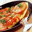 Open tomato and vinegar omelette