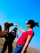 Western tourists feeding a baby camel in the desert of the United Arab Emirates