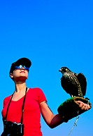 Western tourist holding a falcon on gloved arm, United Arab Emirates