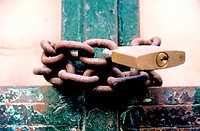 Rusty chain and padlock