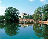 The Huc Bridge to the Ngoc Son Temple at the Hoan Kiem Lake, Vietnam