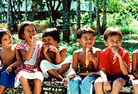 Group of children smiling, Malaysia