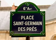 Place Saint-Germain des Prés sign, Paris. France