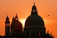 Church of Santa Maria della Salute at sunset, Venice. Veneto, Italy