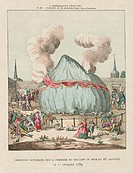 Satirical engraving showing the fate of French abbots Miolan and Janinet's balloon. They were ridiculed for their failed ascent from the Jardin de Lux...