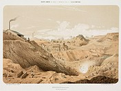 Lithograph by A Maugendre showing the north seam and inclined plane of one of the zinc mines owned by the Societe Anonyme de Mines et Fonderies de Zin...