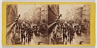 Albumen print. Stereoscopic card by E & H T Anthony of New York. A busy street scene with pedestrians carrying umbrellas, and traffic consisting of ho...