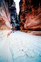 The Siq, one of the principle routes of communication in Petra, Jordan