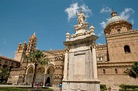 Cathedral and statue of patron Saint Rosalia at fore, Palermo. Sicily, Italy