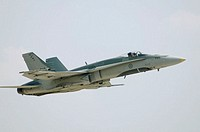 CF-18 Hornet (Canadian Forces) supersonic fighter jet during airshow. Bagotville military base, Quebec, Canada