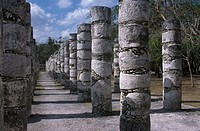 Chichen Itza, group of columns, Mexico