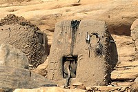 Clay architecture. Bandiagara cliffs. Dogon Country. Mali