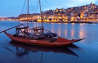 'Rabelos' (typical barges) on Douro river. Vila Nova de Gaia, Porto. Portugal