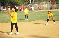 Girls playing baseball in Rutherford, NJ.