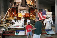 Father, son, Luner Excursion Module exhibit. U.S. Space and Rocket Center. Huntsville. Alabama. USA.
