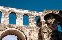 Arched wall part of Diocletian's Palace, Split. Dalmatia, Croatia