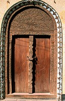 Door, typical architecture. Lamu Island. Indian Ocean Coast. Kenya.