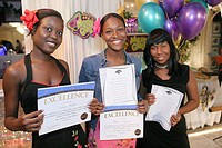 Black students with certificates at Non-Violence Project USA End of Year Awards Ceremony. Hialeah Gardens, Florida. USA