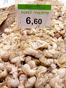 Small octopus for sale in la Boqueria Market. Barcelona. Spain