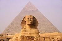 Sphinx and Chephren Pyramid in background, Gizeh. Egypt