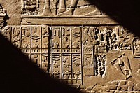 Egyptian hieroglyphs on temple wall, Karnak. Egypt