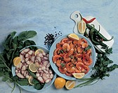 shrimps, slices of octopus