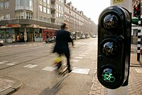 Traffic light for biker. Amsterdam. Holland