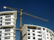 Construction cranes anf new buildings in Cancun. Yucatán, Mexico