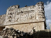 The Governor´s Palace in Uxmal, Pre-Columbian ruined city of the Maya civilization (late Classic period 600 - 900 A.D.). Yucatan, Mexico