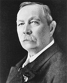Sir Arthur Conan Doyle. Historical portrait of the British novelist and physician Sir Arthur Conan Doyle (1859-1930). Doyle is most famous for the cre...
