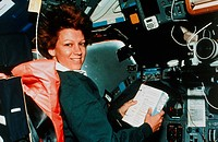 Shuttle commander Collins. Mission commander Eileen M. Collins on board space shuttle Columbia during mission STS-93. Collins was the first female mis...