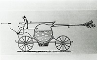 Steam-powered vehicle, historical artwork. This vehicle consisted of a water-filled vessel (circle, centre) which was heated by a furnace beneath it. ...